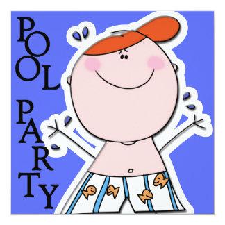 Gullig födelsedag för simning för party för fyrkantigt 13,3 cm inbjudningskort