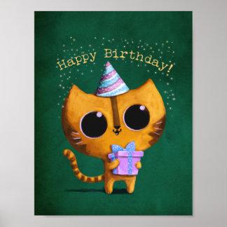 Gullig födelsedagkatt poster