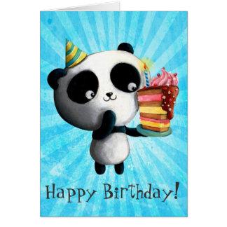 Gullig födelsedagPanda med tårtan Hälsningskort