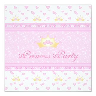 Gullig födelsedagsfest för kronaPrincess Rosa Fyrkantigt 13,3 Cm Inbjudningskort