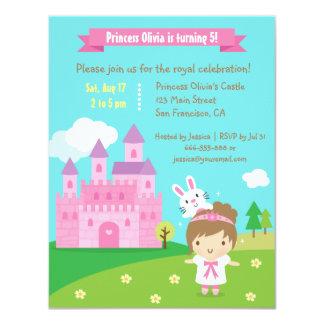 Gullig födelsedagsfest för Princess Themed Kanin 10,8 X 14 Cm Inbjudningskort
