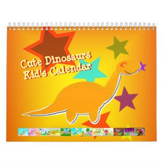 Gullig för barn för tecknadDinosaurskalender Kalender