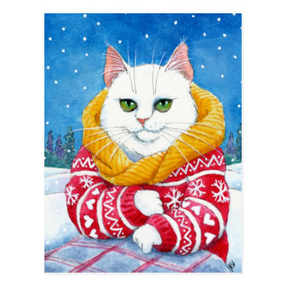 Gullig för Maine för kattvitjul vykort Coon