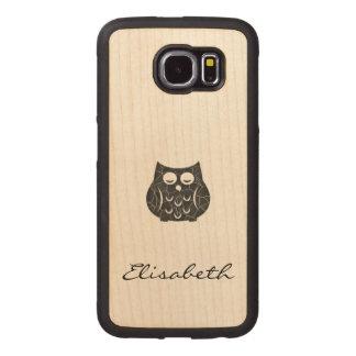 Gullig för tecknaduggla för trendig flickaktigt wood phone skal