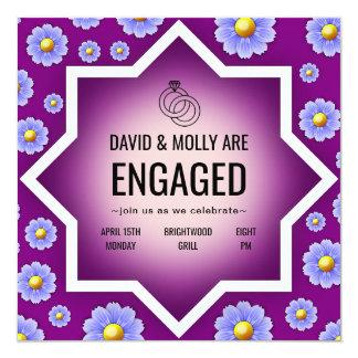 Gullig förlovningsfestinbjudan för purpurfärgade fyrkantigt 13,3 cm inbjudningskort