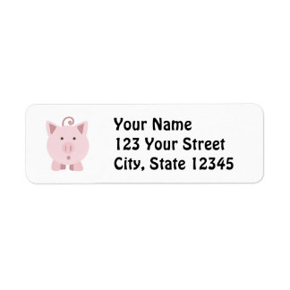 Gullig förvånad gris returadress etikett