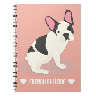 Gullig fransk Bulldog. Anteckningsbok Med Spiral