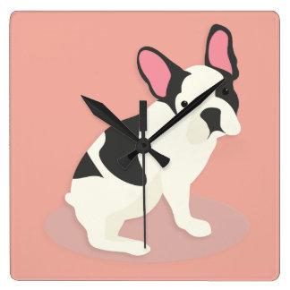 Gullig fransk Bulldog. Fyrkantig Klocka