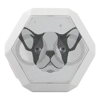 Gullig fransk bulldogg för illustration vit bluetooth högtalare