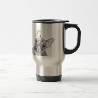 Gullig fransk bulldoggrostfritt ståltravel mug resemugg