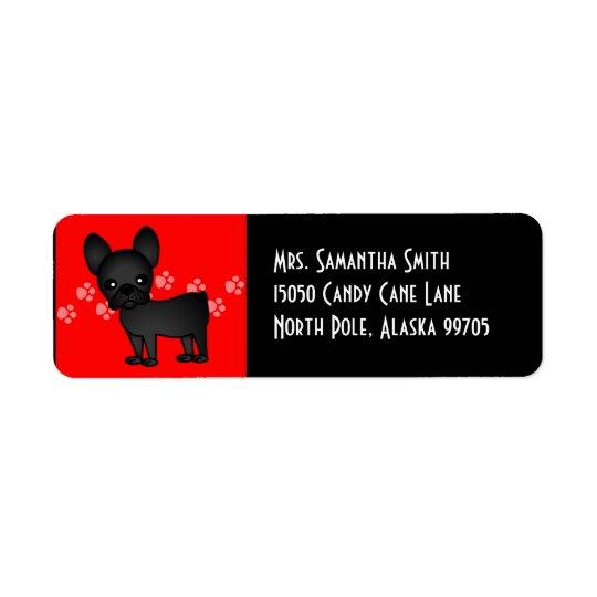 Gullig fransk bulldoggtecknadsvart returadress etikett