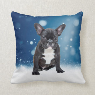 Gullig fransk jul för blått för kudde