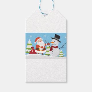 Gullig gåva för julafton för Santa snögubbejul Presentetikett
