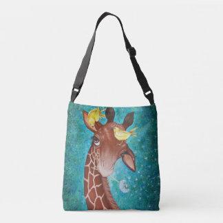Gullig giraff med att måla för fåglar axelväska