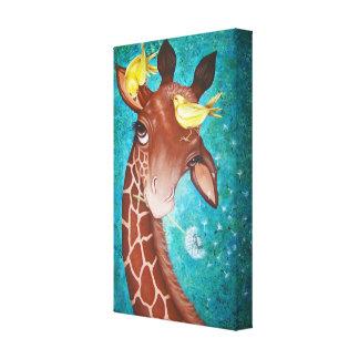 Gullig giraff med att måla för fåglar canvastryck