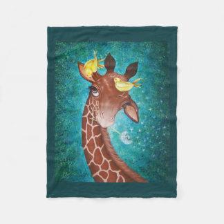 Gullig giraff med fåglar fleecefilt