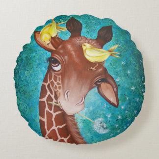 Gullig giraff med fåglar rund kudde