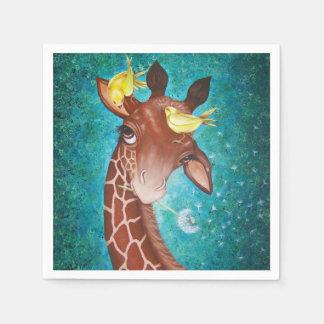 Gullig giraff med fåglar servett