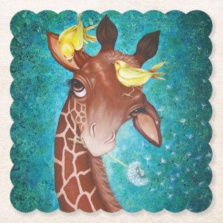 Gullig giraff med fåglar underlägg papper