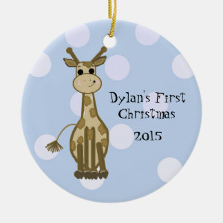 Gullig giraffbaby första jul julgransprydnad keramik