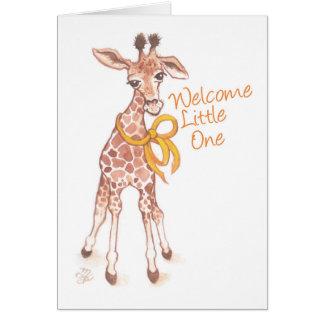 Gullig giraffbaby shower för välkommen unge hälsningskort