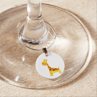 Gullig girafftecknad berlock vinglas