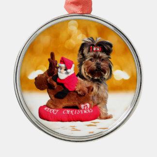 Gullig god jul för Yorkshire Terrier Julgransprydnad Metall