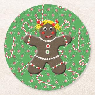Gullig godis för jul för pepparkakakakaflicka underlägg papper rund