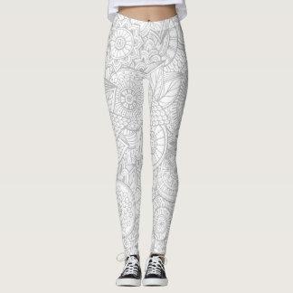 Gullig grå blom- damasker leggings