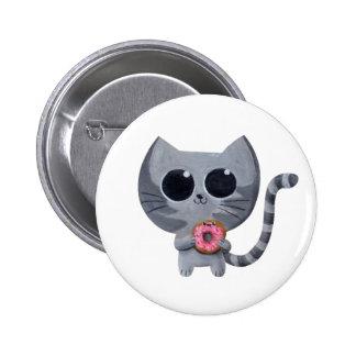 Gullig grå färgkatt och munk standard knapp rund 5.7 cm