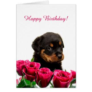 Gullig grattis på födelsedagen för Rottweiler Hälsningskort