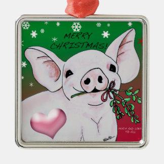 Gullig gris med mistletoeprydnaden julgransprydnad metall