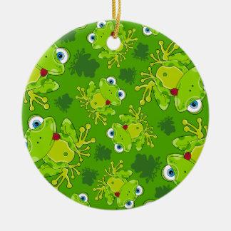 Gullig groda mönstrad prydnad julgransprydnad keramik