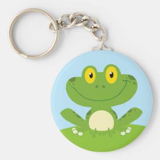Gullig grön groda nyckel ringar