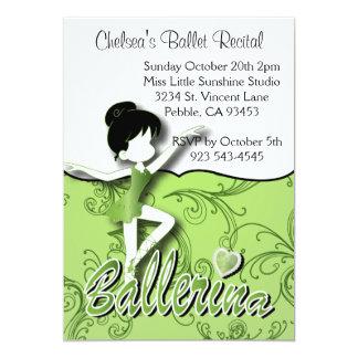 Gullig grön högläsning för dans för balett för 12,7 x 17,8 cm inbjudningskort