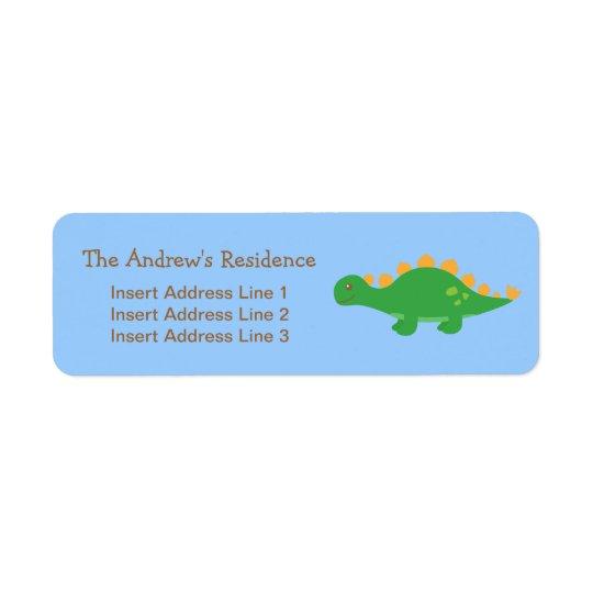 Gullig grön StegosaurusDinosaur, för barn Returadress Etikett