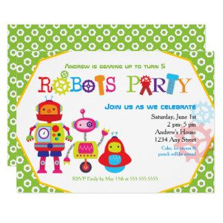 Gullig grönt för barns födelsedagpartyrobotar 12,7 x 17,8 cm inbjudningskort