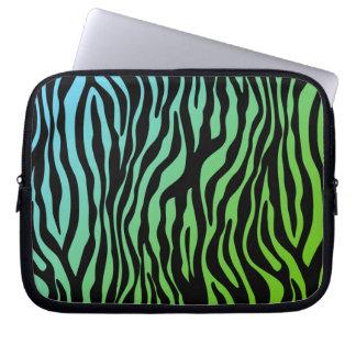 Gullig grönt för blått för sebralaptop sleevesvart laptopskydd