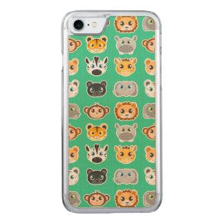 Gullig grönt för djungeldjurmönster carved iPhone 7 skal