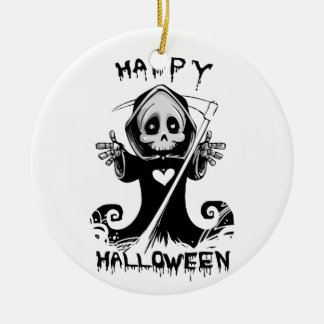 Gullig grym reaper halloween julgransprydnad keramik