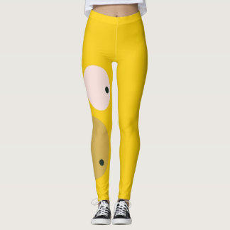 Gullig gul ansiktegenomköraredamasker leggings