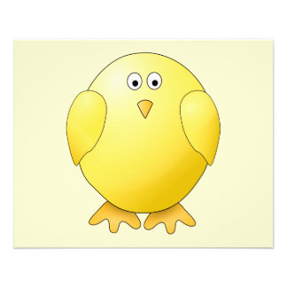 Gullig gul chick. Lite Bird. Flygblad