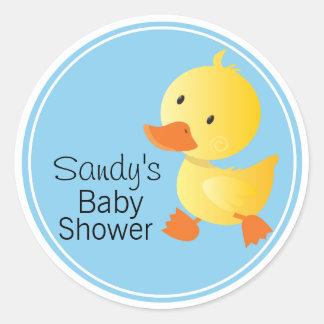Gullig gul Duckie baby shower Runt Klistermärke