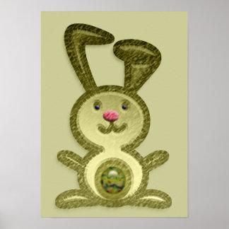Gullig guld- kaninaffisch affischer