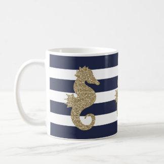 Gullig guld- Seahorse på den marin-/för Kaffemugg