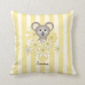 Gullig gult för namn för rum för ungar för baby kudde