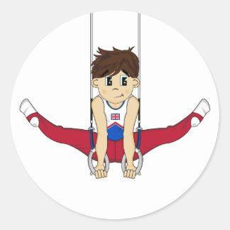 Gullig gymnast på ringklistermärke runt klistermärke