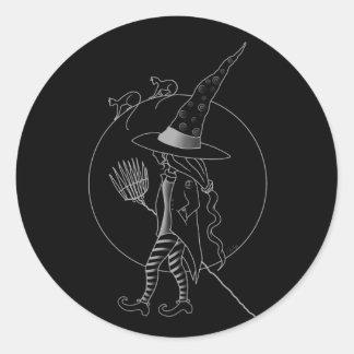 Gullig Halloween häxa Runt Klistermärke