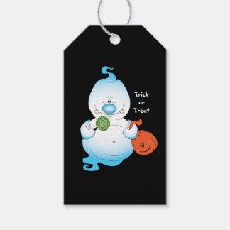 Gullig Halloween spöketecknad Presentetikett