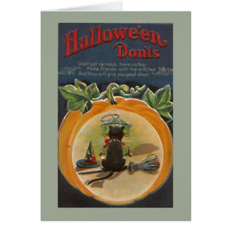 Gullig Halloween svart katt Hälsningskort